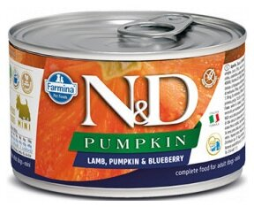 N&D DOG PUMPKIN Adult Lamb & Blueberry Mini 140g